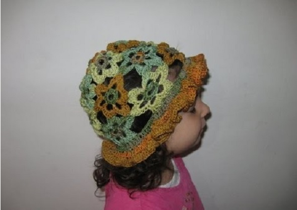 Patron Crochet Gorro Flores Aplique