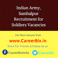 Indian Army, Sambalpur Recruitment for Soldiers Vacancies