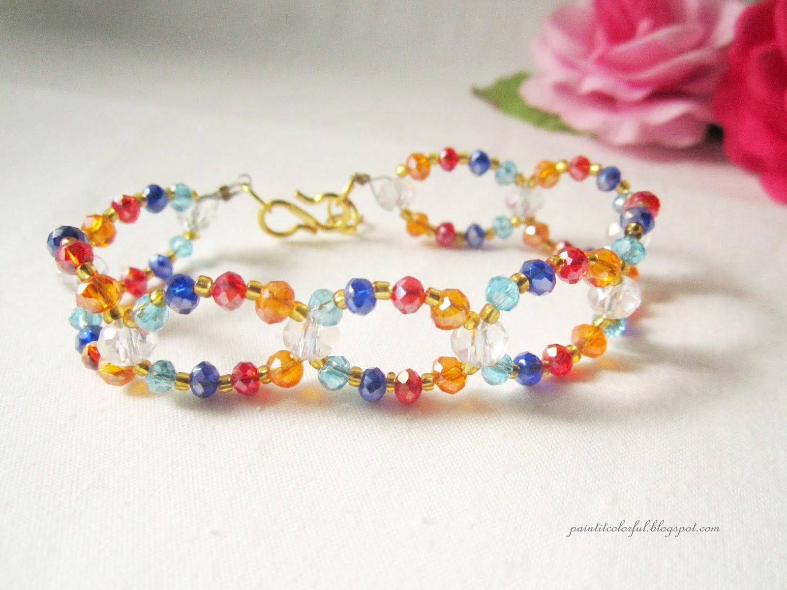 Colorful crystal bracelet tutorial - A little love everyday!