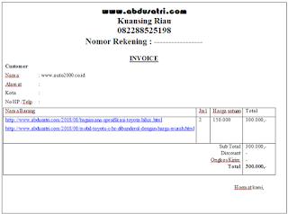 contoh invoice dalam bentuh doc