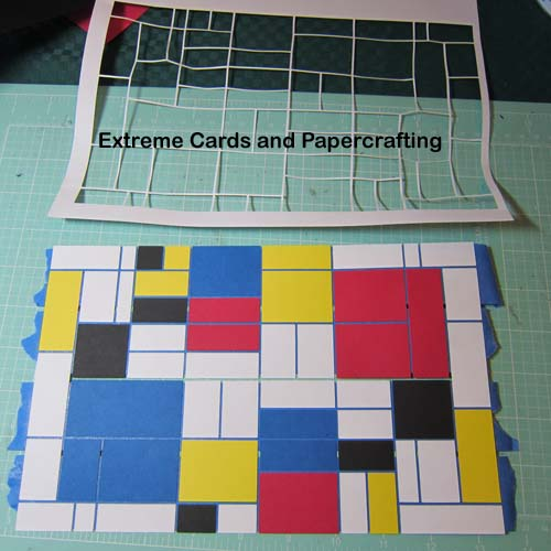 Mondrian tri-shutter card ready to glue