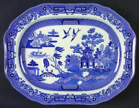 Handmade By Amo R Ireland Willow Pattern Sea Pottery