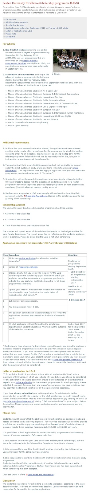Leiden University Excellence Scholarships for International Students in Netherlander Years 2017 to 2018
