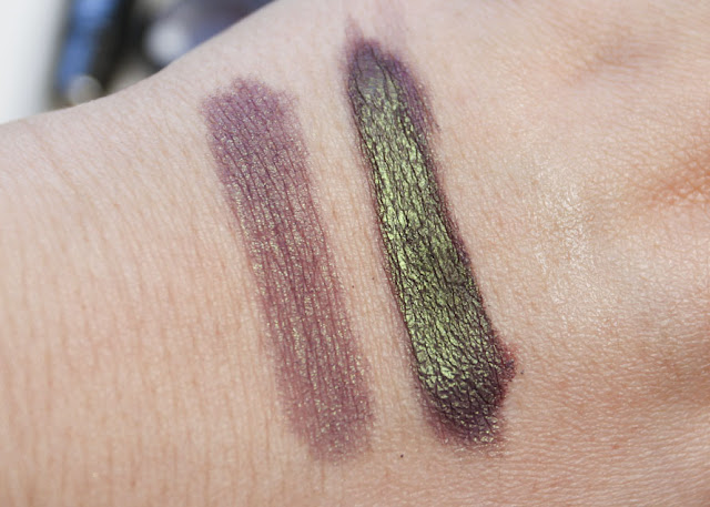 close up swatch of Desecration to show off its green shift