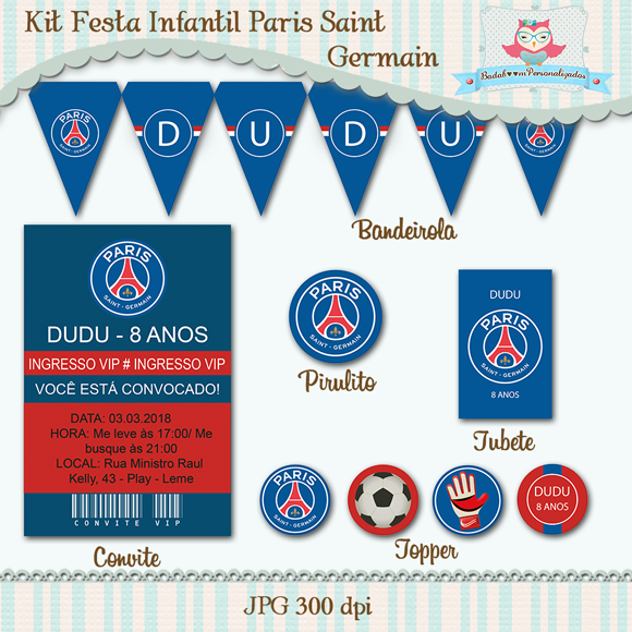 kit digital, kit infantil, kit festa, arte digital, Paris Saint Germain, Futebol, bandeirola, convite, topper, rótulo, pirulito, tubete, tag, tags, rotulos, personalizado