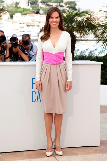 Hilary Swank in a tri-colour Bottega Veneta dress with Casadei heels at Cannes 2014