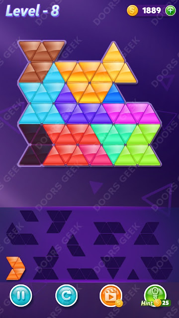 Block! Triangle Puzzle 12 Mania Level 8 Solution, Cheats, Walkthrough for Android, iPhone, iPad and iPod