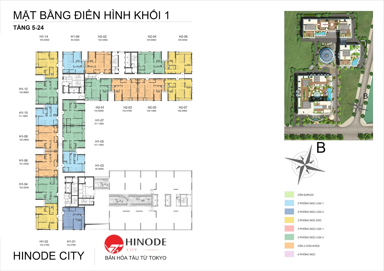 Mặt bằng điển hình toà B dự án Hinode City 201 Minh Khai