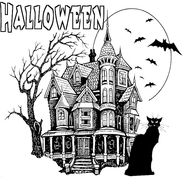 - Printable Halloween Coloring Pages: Printable Halloween Haunted House  Coloring Pages