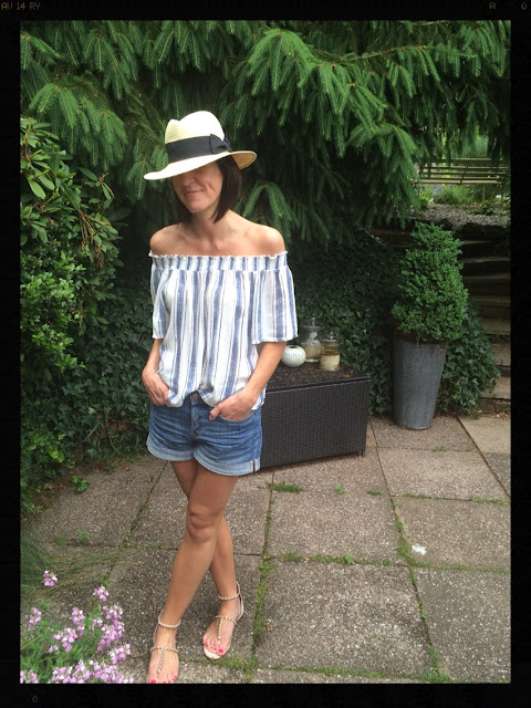 My Midlife Fashion, Zara studded sandals, denim shorts, off the shoulder boho top, stripes, panama hat, H and m