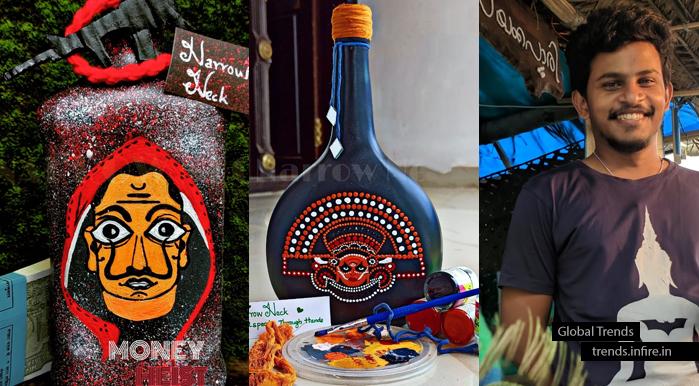Creative bottle arts of Nikhil Gopi M, Narrow Neck