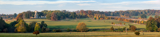 Autumn panoramic with the Folly at the Wimpole Estate in Cambridgeshire