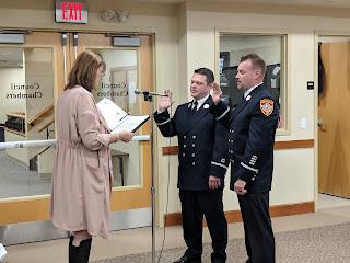 Lt Sean Lovely,  Lt Kevin Marshall being sworn in by Teresa Burr