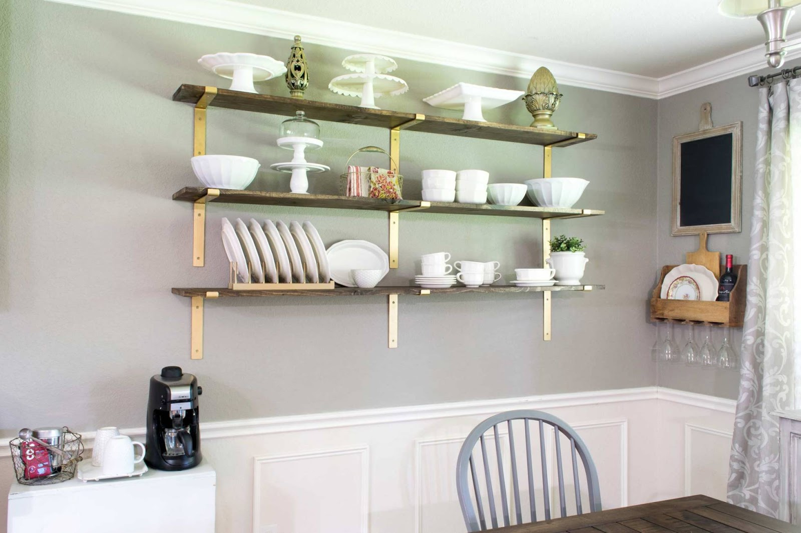 Dining Room Wall Shelves Satisfying Solutions For Decorating A Large Blank Wall