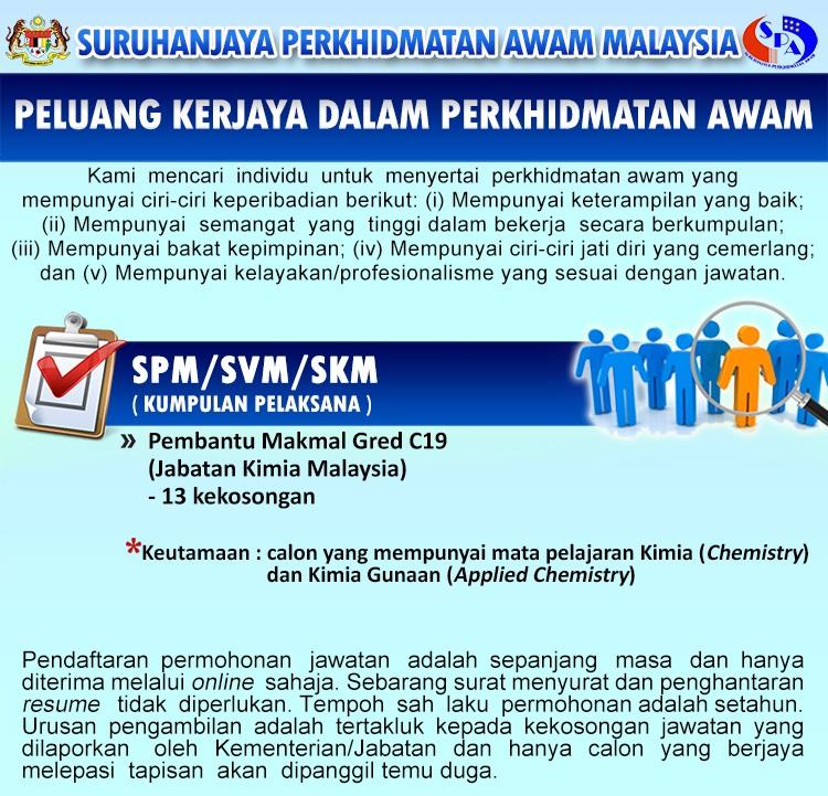 Jawatan Kosong Di Jabatan Kimia Malaysia Kelayakan Spm Tetap Berpencen Jobcari Com Jawatan Kosong Terkini