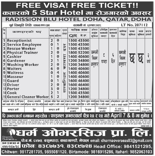 Free Visa Free Ticket Jobs in 5 Star Hotel in Qatar, Salary Rs 52,200