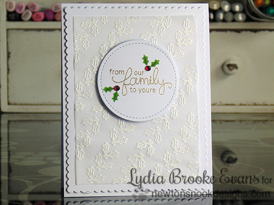 Embossed Holly Christmas card by Lydia Brooke for Newton's Nook Designs