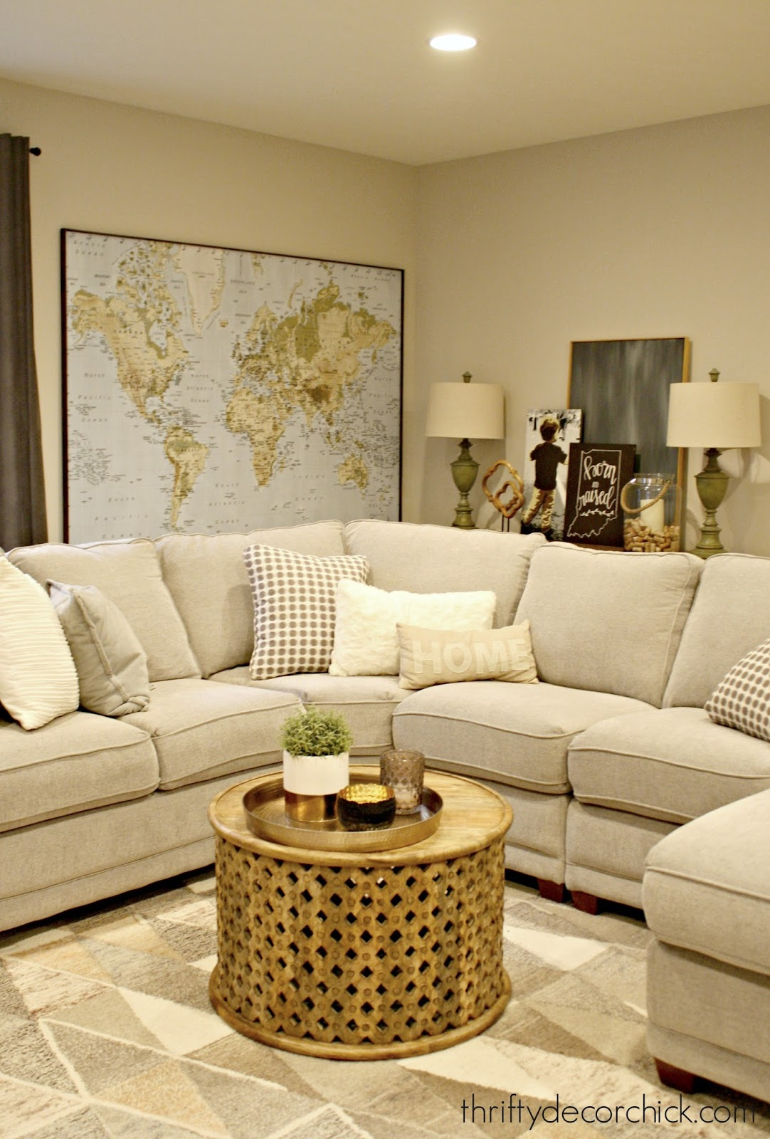 Cozy basement family room with sectional