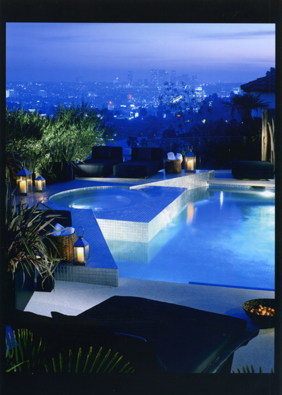 Picture of pool area and the city in the background