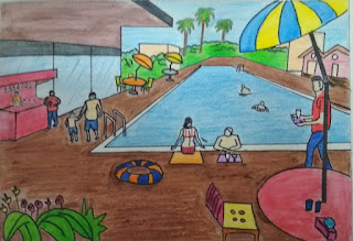swimming pool drowning easy to draw - accroart