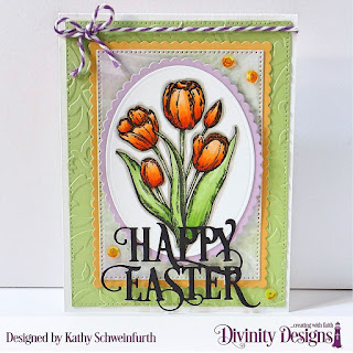 Divinity Designs Stamp Set: Glorious Easter, Custom Dies: Happy Easter Caps, Scalloped Rectangles, Pierced Rectangles, Ovals, Scalloped Ovals, Embossing Folder: Flourishes, Paper Collection: Spring Flowers 2019