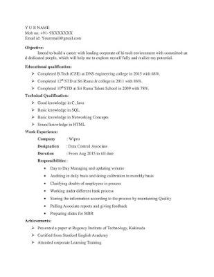 Wipro BPO Resume Format 1