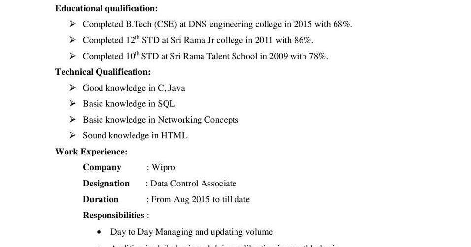 wipro bpo resume format sample-data control associate