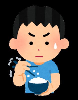 箸でご飯を食べるのが下手な人のイラスト(男の子)