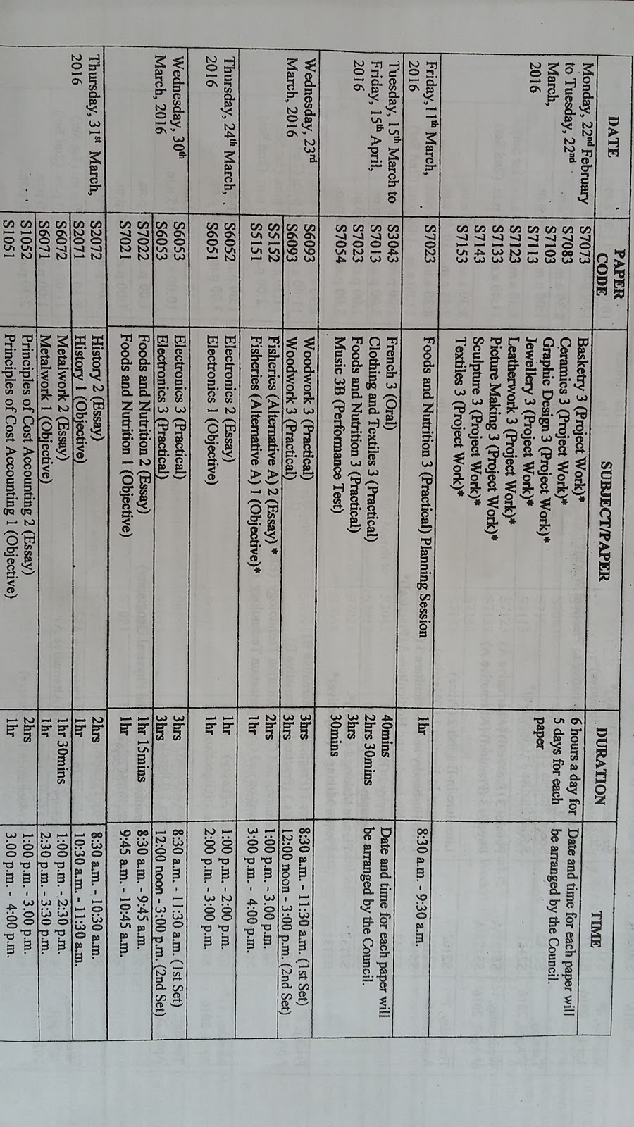 bece time table for 2014 candidate