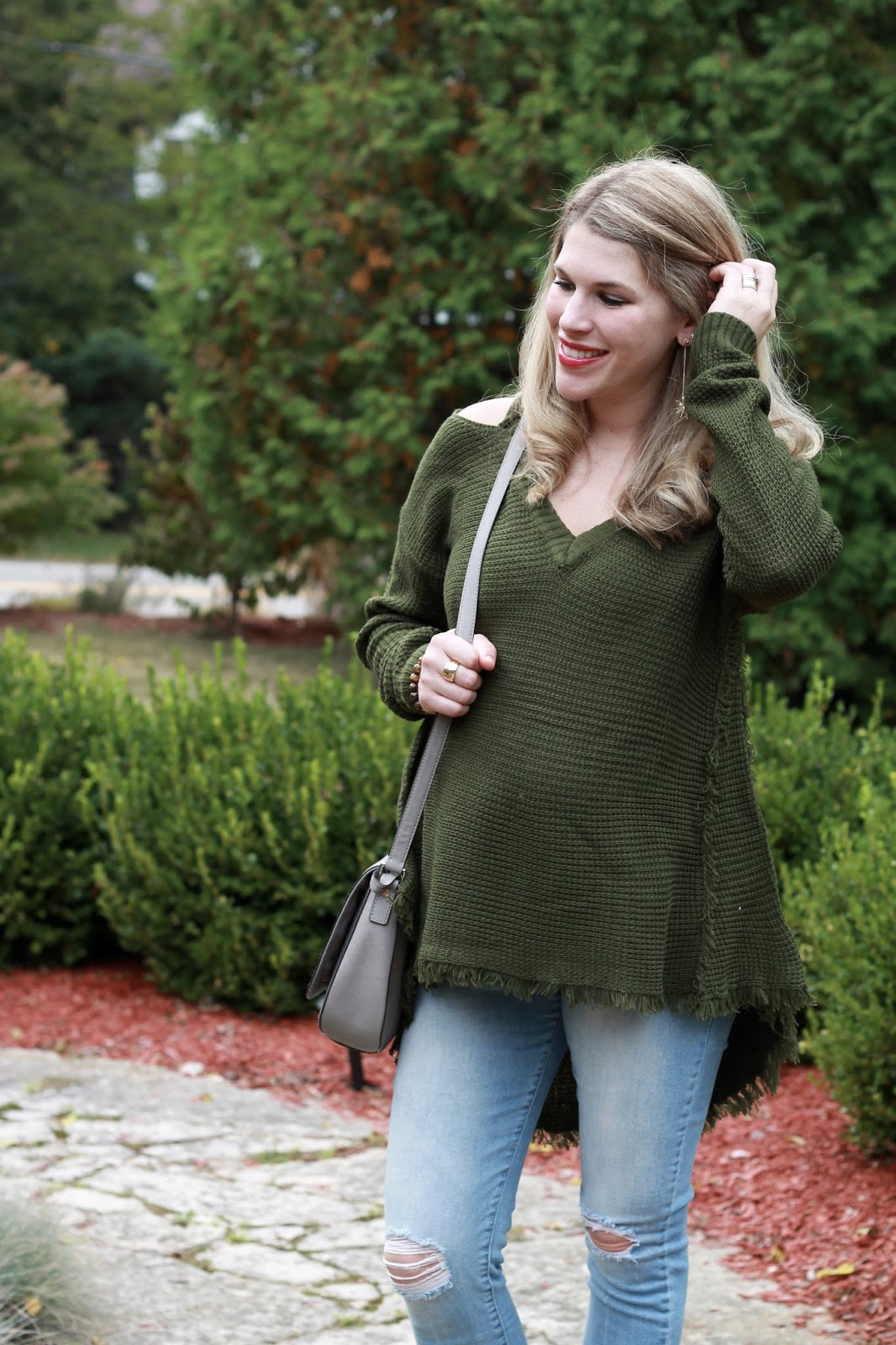 SheIn olive cold shoulder sweater, PinkBlush distressed maternity jeans, grey peep toe booties, grey saddle bag