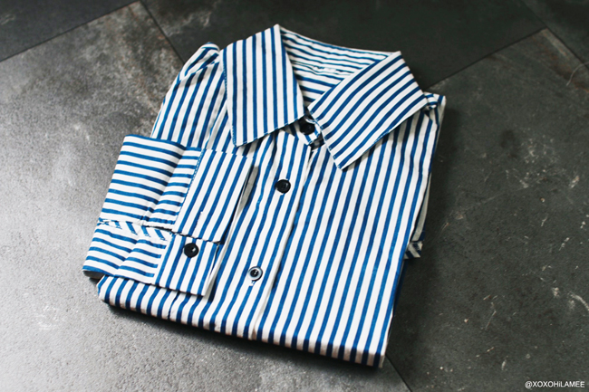 シーイン ブルーストライプシャツ