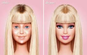 Antes e depois - maquilhagem Barbie