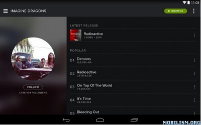app smartphone android Spotify Music 2.7.0.883 Premium modificato