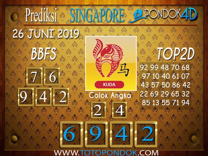 Prediksi Togel SINGAPORE PONDOK4D 26 JUNI 2019