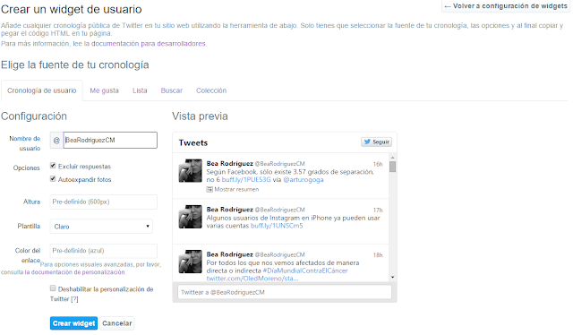 Crear un nuevo widget de usuario en Twitter