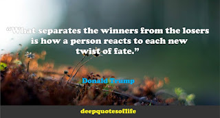 """What separates the winners from the losers is how a person reacts to each new twist of fate.""  ― Donald Trump"