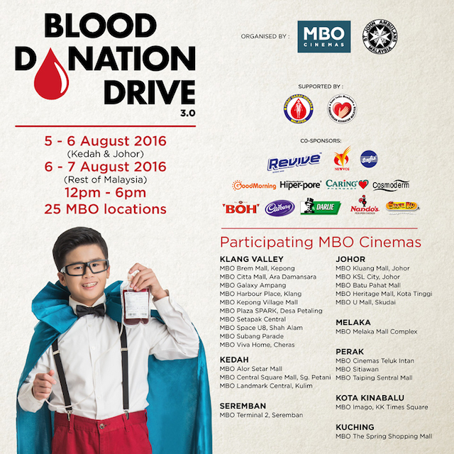 MBO Cinemas and St Johns Ambulance Malaysia Nationwide Blood Donation Campaign 2016