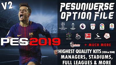 PES 2019 PC / PS4 PES Universe Option File v2 Season 2018/2019