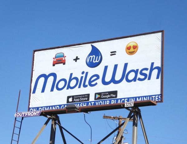 Mobile Wash app emoji billboard