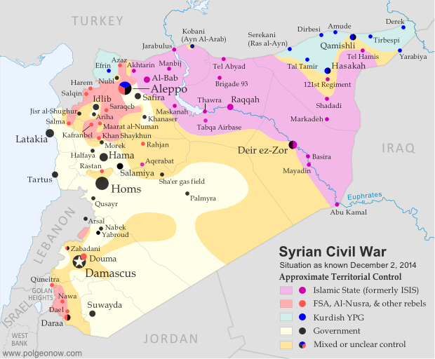Map of fighting and territorial control in Syria's Civil War (Free Syrian Army rebels, Kurdish groups, Al-Nusra Front, Islamic State (ISIS/ISIL) and others) as of December 2014