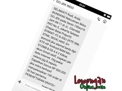 SMS panggilan Gojek