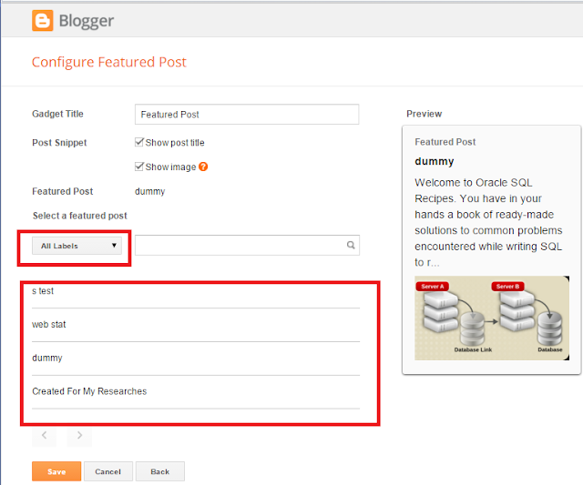 Blogger's new Featured Post Gadget