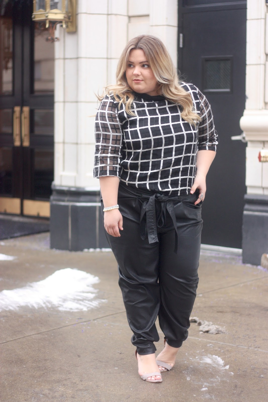 plus size leather trousers, leather joggers, natalie in the city, natalie craig, chicago blogger, midwest blogger, plus size clothing, ELVI, u.k., fatshion