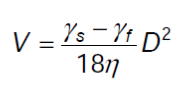fórmula de velocidad de sedimentación