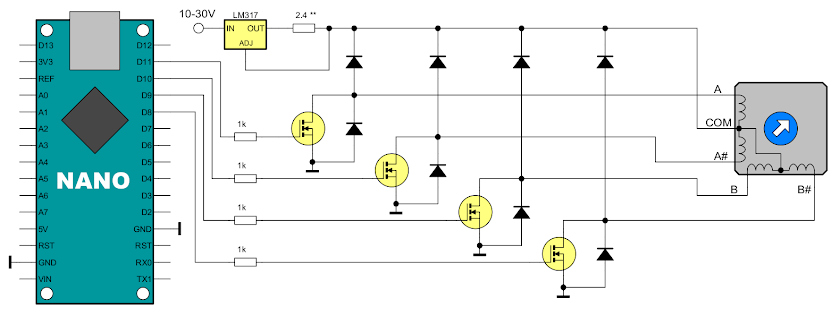 Unipolar stepper driver schematic with transistors