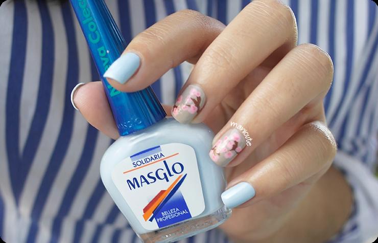 cherry blossom nails masglo solidaria essie sand tropez