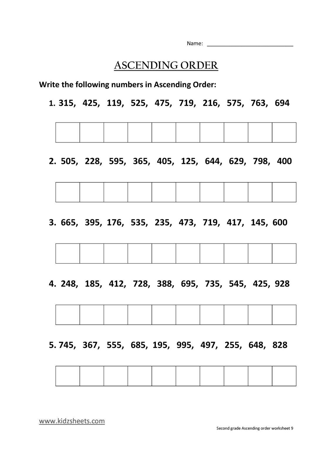 Kidz Worksheets Second Grade Ascending Order Worksheet9