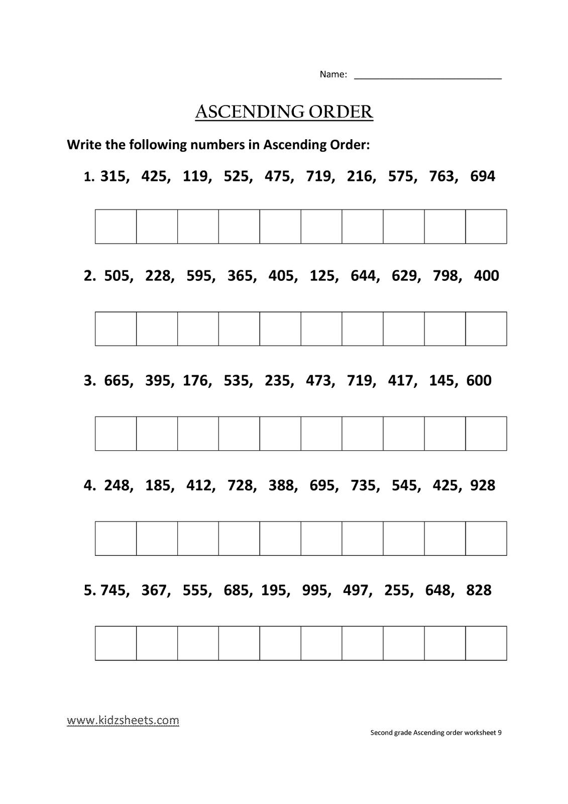 Kidz Worksheets Second Grade Ascending Order Worksheet9