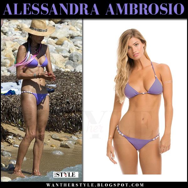 Alessandra Ambrosio in purple triangle bikini ale by alessandra what she wore july 10 2017 ibiza beach