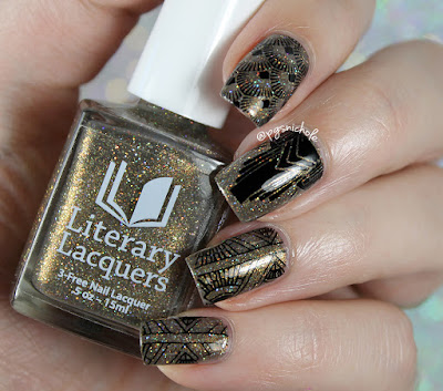 Literary Lacquers And This Mystery Explore + Powder Perfect black stamping polish | Powder Perfect Art Deco Stamping Plate